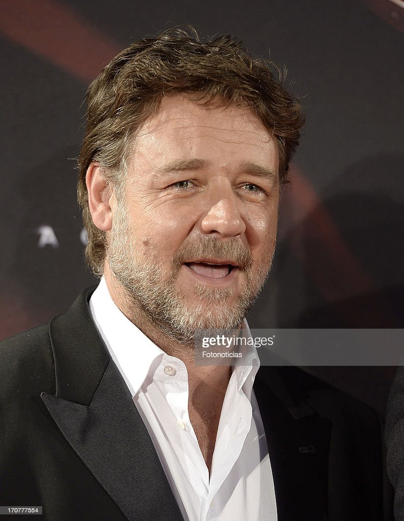 <a gi-track='captionPersonalityLinkClicked' href=/galleries/search?phrase=Russell+Crowe&family=editorial&specificpeople=202609 ng-click='$event.stopPropagation()'>Russell Crowe</a> attends the premiere of ' Man of Steel' (El Hombre de Acero) at Capitol Cinema on June 17, 2013 in Madrid, Spain.
