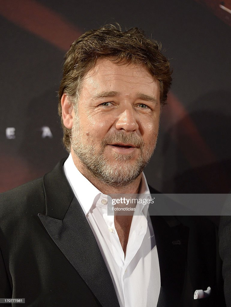 Russell Crowe attends the premiere of ' Man of Steel' (El Hombre de Acero) at Capitol Cinema on June 17, 2013 in Madrid, Spain.