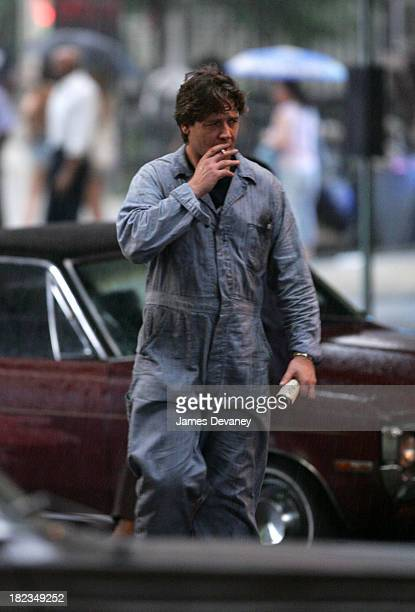 Russell Crowe during Russell Crowe and RZA on Set of American Gangster August 3 2006 at Brooklyn in New York City New York United States