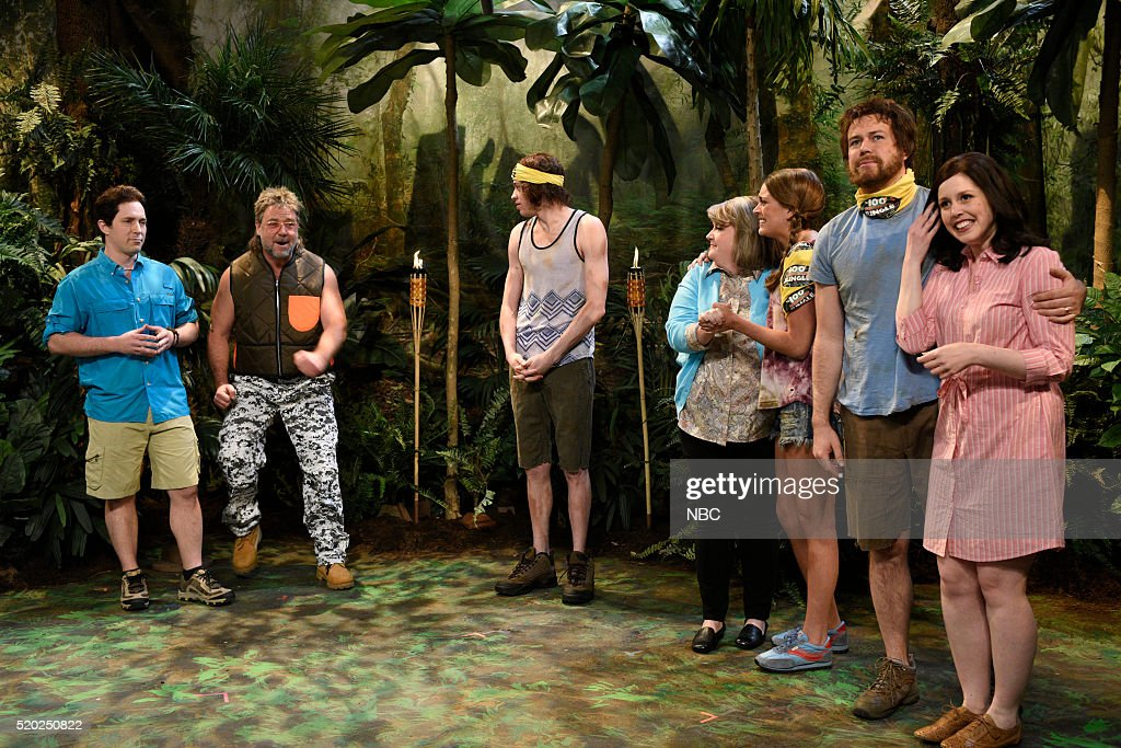 LIVE -- 'Russell Crowe' Episode 1700 -- Pictured: (l-r) Beck Bennett, Russell Crowe, Pete Davidson, Aidy Bryant, Cecily Strong, Taran Killam, and Vanessa Bayer during the '100 Days in the Jungle' sketch on April 9, 2016 --