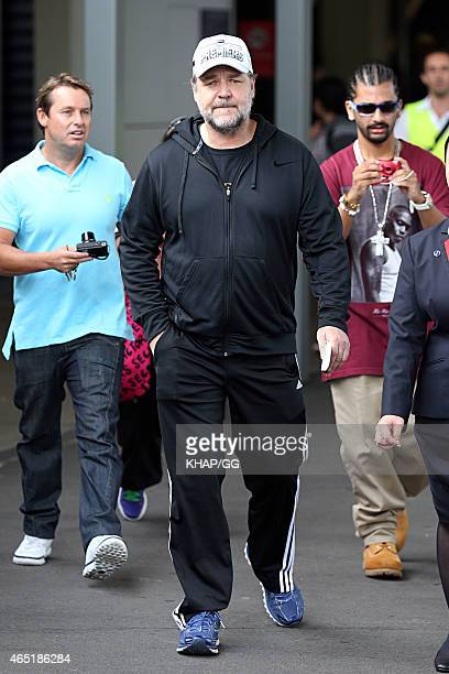 Russell Crowe is seen upon arrival at Sydney International Airport on March 4 2015 in Sydney Australia