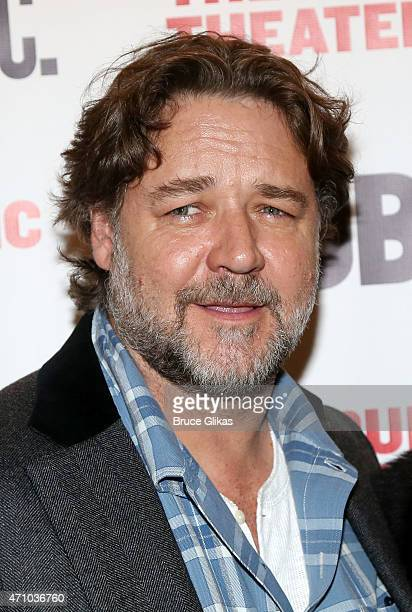 Russell Crowe poses at The Opening Night Celebration for the play 'Grounded' at The Public Theater on April 24 2015 in New York City