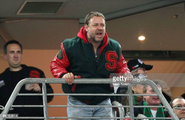 Russell Crowe reacts to a referee decision during the round 23 NRL match between the South Sydney Rabbitohs and the Gold Coast Titans at ANZ Stadium...