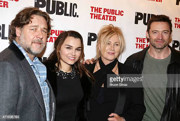 Russell Crowe Samantha Barks DeborraLee Furness and husband Hugh Jackman pose at The Opening Night Celebration for the play 'Grounded' at The Public...