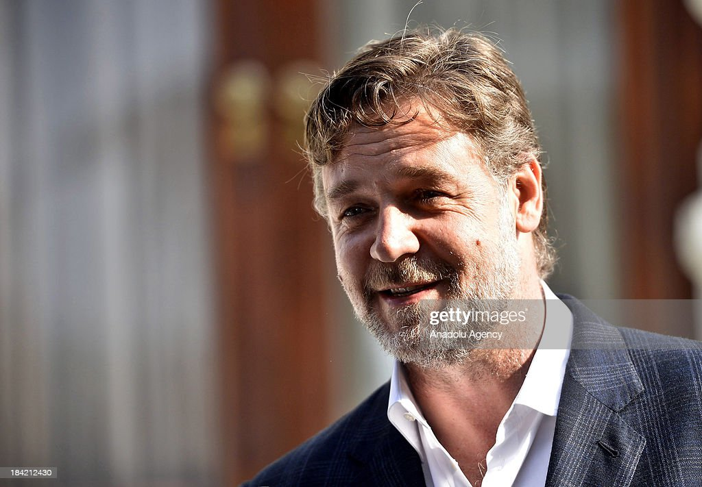 Russell Crowe speaks to the media outside the Mecidiye Kiosk after a meeting with Turkish Culture and Tourism Minister Omer Celik (not pictured) on 12 October 2013 in Istanbul, Turkey. Russell Crowe met with Turkish Minister Omer Celik to talk about his upcoming movie 'The Water Diviner' which is about an Australian father's search of his two missing son after the Battle of Gallipoli in 1919.