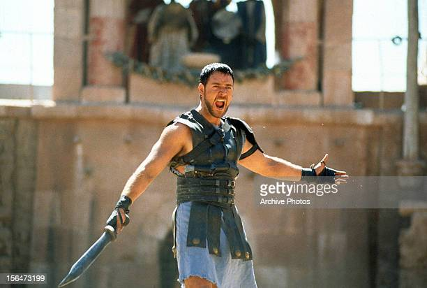 Russell Crowe with sword in a scene from the film 'Gladiator' 2000