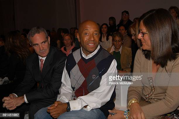 Russell Denson Russell Simmons and Fern Mallis attend Child Magazine Fashion Show at The Atelier Tent at Bryant Park on February 7 2005 in New York...