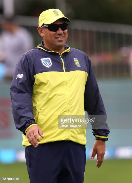 Russell Domingo head coach of South Africa during day two of the Test match between New Zealand and South Africa at Seddon Park on March 26 2017 in...