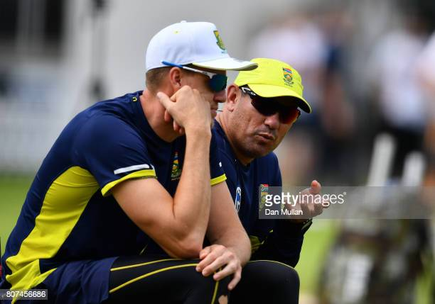 Russell Domingo Head Coach of South Africa talks to Morne Morkel of South Africa during a South Africa Net Session at Lord's Cricket Ground on July 4...