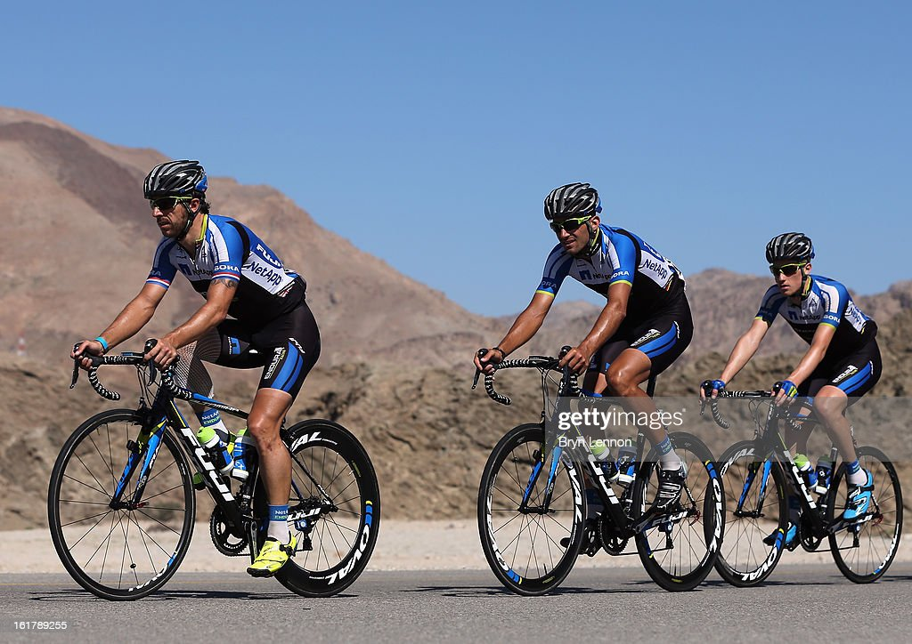 Russell Downing of Great Britain and Team Nettapp Endura lleads his team mates during stage six of the 2013 Tour of Oman from Hawit Nagam Park to the Matrah Corniche on February 16, 2013 in Matrah, Oman.