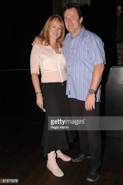 Russell Gilbert with fiancee Rochelle just after Russell's performance at the Forum Theatre for the premiere of 'Defending The Caveman' in Melbourne...