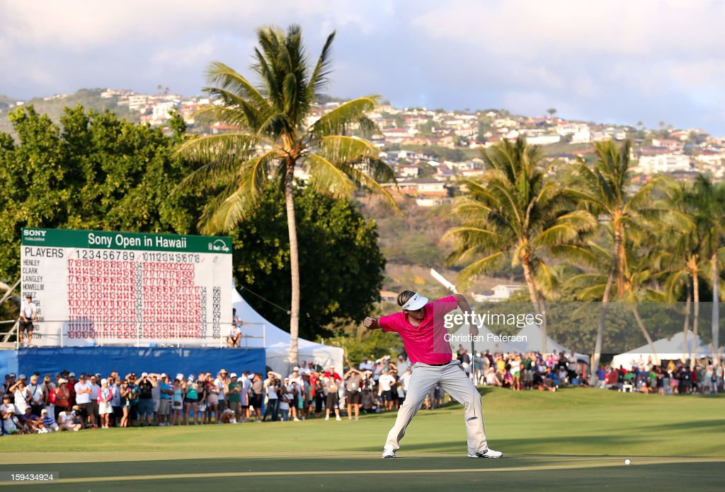 <a gi-track='captionPersonalityLinkClicked' href=/galleries/search?phrase=Russell+Henley&family=editorial&specificpeople=6919717 ng-click='$event.stopPropagation()'>Russell Henley</a> celebrates after making a birdie putt on the 18th hole green to win the Sony Open in Hawaii following the final round at Waialae Country Club on January 13, 2013 in Honolulu, Hawaii.