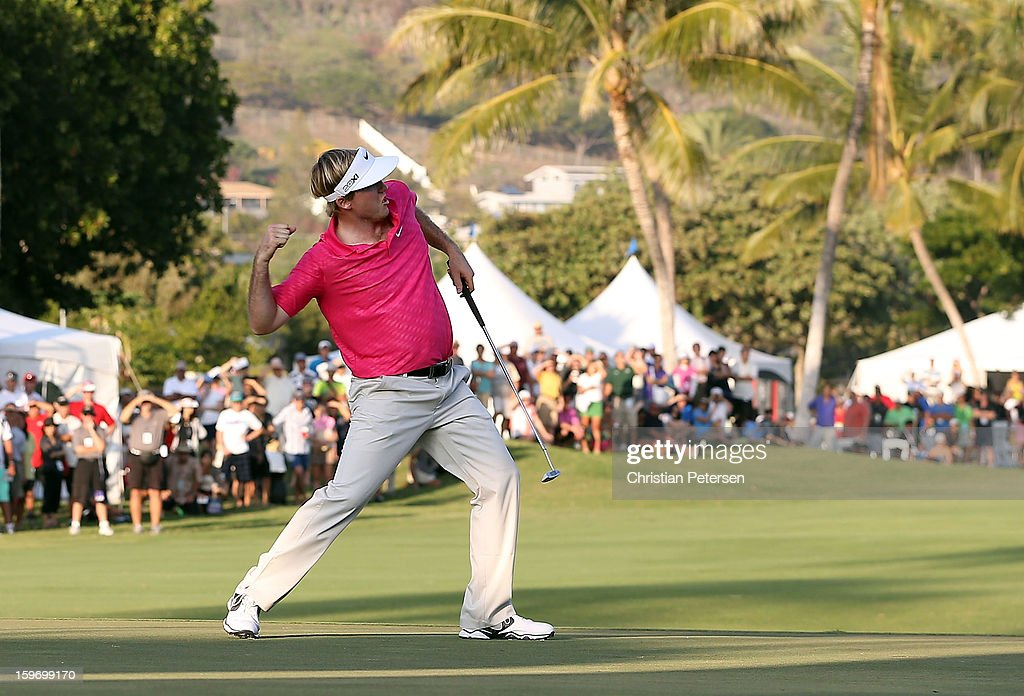 Russell Henley celebrates after making a birdie putt on the 18th hole green to win the Sony Open in Hawaii following the final round at Waialae Country Club on January 13, 2013 in Honolulu, Hawaii.