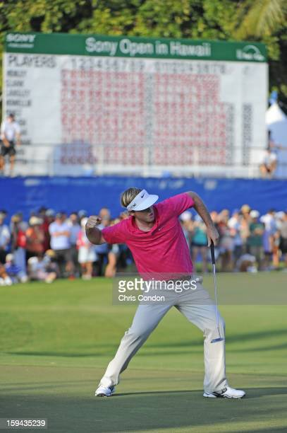 Russell Henley celebrates on the 18th green after winning the Sony Open in Hawaii at Waialae Country Club on January 13 2013 in Honolulu Hawaii