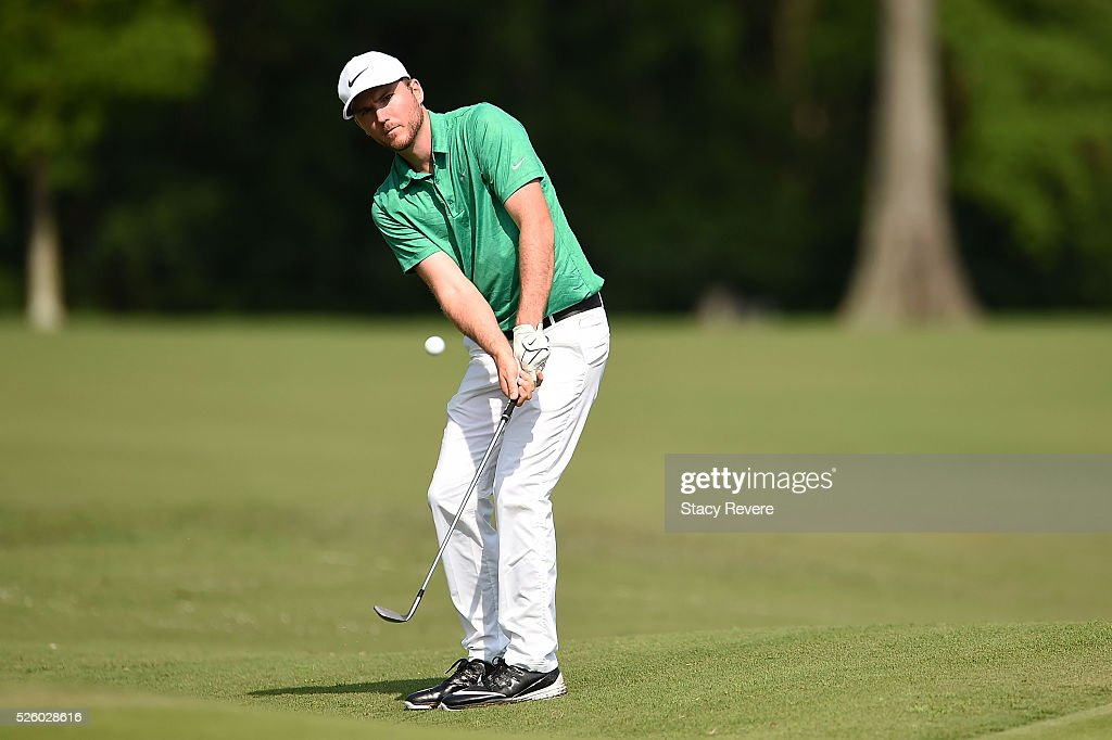 <a gi-track='captionPersonalityLinkClicked' href=/galleries/search?phrase=Russell+Henley&family=editorial&specificpeople=6919717 ng-click='$event.stopPropagation()'>Russell Henley</a> chips in for birdie on the sixth hole during a continuation of the first round on April 29, 2016 in Avondale, Louisiana.