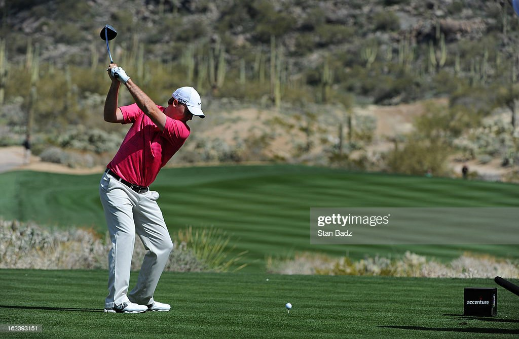 Russell Henley hits a drive on the 15th hole during the second round of the World Golf Championships-Accenture Match Play Championship at The Golf Club at Dove Mountain on February 22, 2013 in Marana, Arizona.