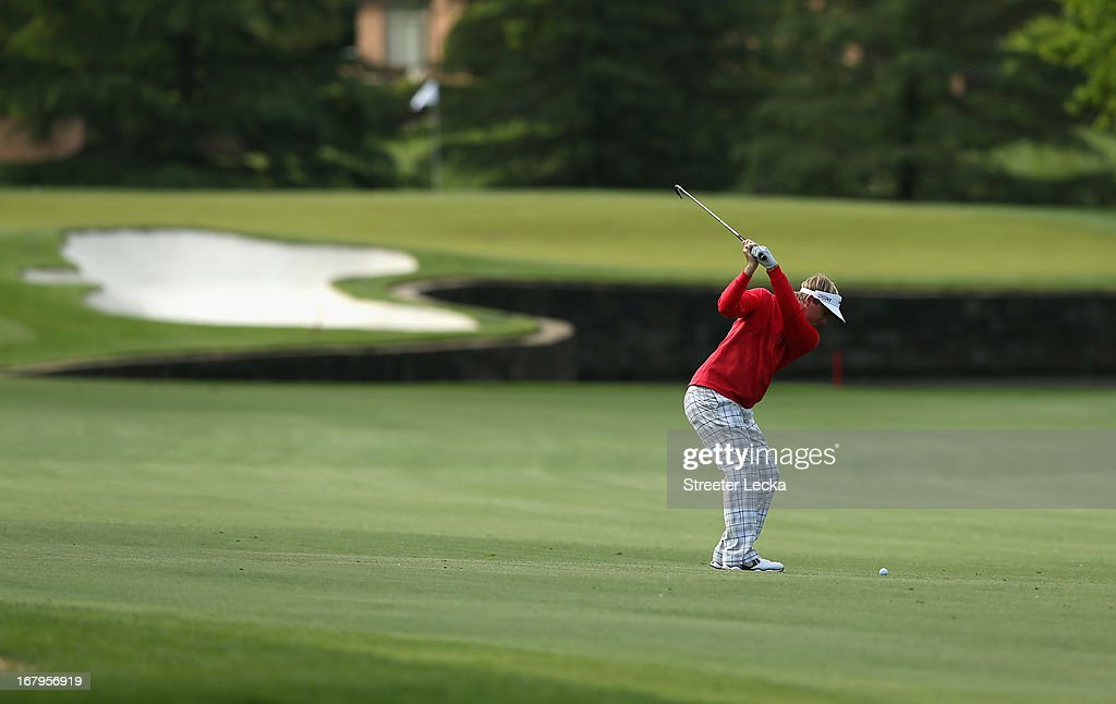 Russell Henley hits a shot on the 7th hole during the second round of the Wells Fargo Championship at Quail Hollow Club on May 3, 2013 in Charlotte, North Carolina.