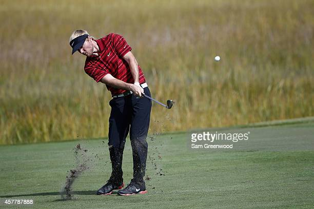 Russell Henley hits a shot on the 8th fairway during the second round of The McGladrey Classic at Sea Island's Seaside Course on October 24 2014 in...