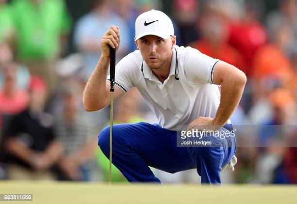Russell Henley lines up a putt on the 18th green during the final round of the Shell Houston Open at the Golf Club of Houston on April 2 2017 in...