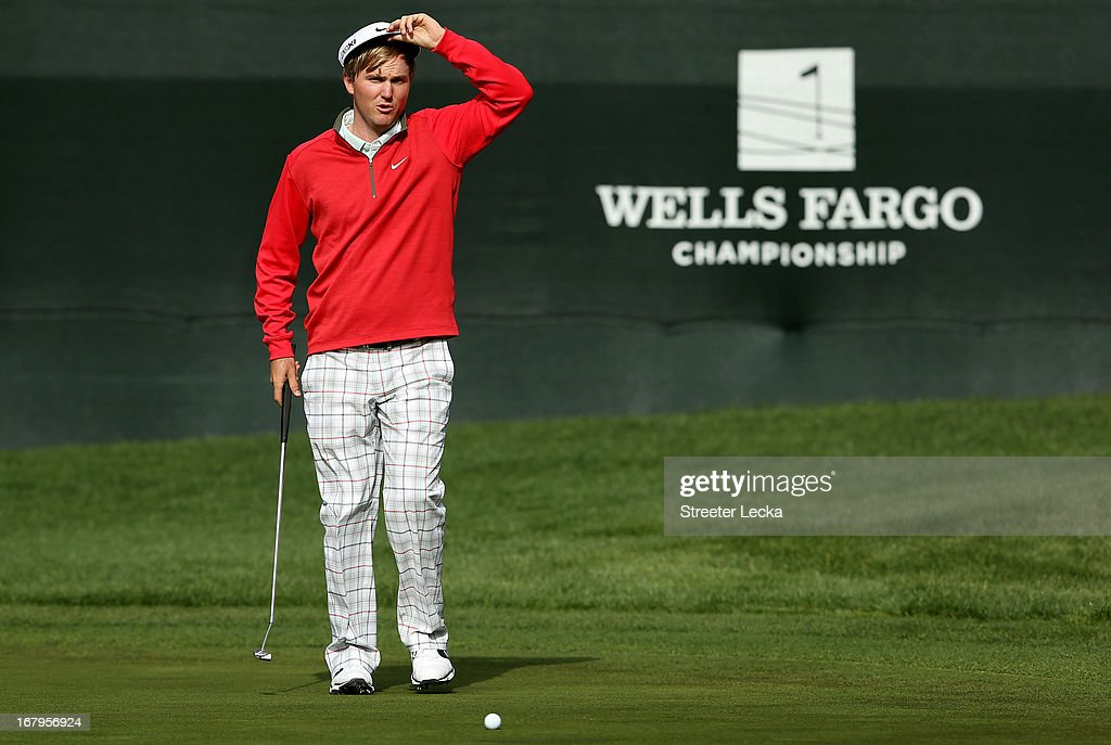 Russell Henley lines up a putt on the 6th hole during the second round of the Wells Fargo Championship at Quail Hollow Club on May 3, 2013 in Charlotte, North Carolina.