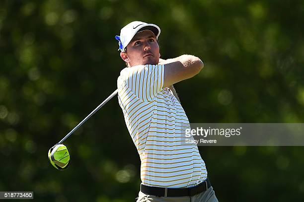 Russell Henley of the United States hits his tee shot on the 15th hole during the third round of the Shell Houston Open at the Golf Club of Houston...