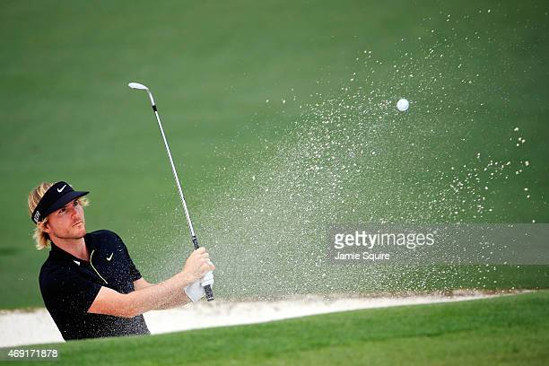 Russell Henley of the United States plays a shot on the second hole during the second round of the 2015 Masters Tournament at Augusta National Golf...