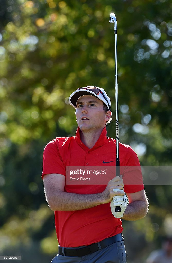 Russell Henley of the United States plays his shot from the eighth tee during the third round of the Shriners Hospitals For Children Open on November 5, 2016 in Las Vegas, Nevada.