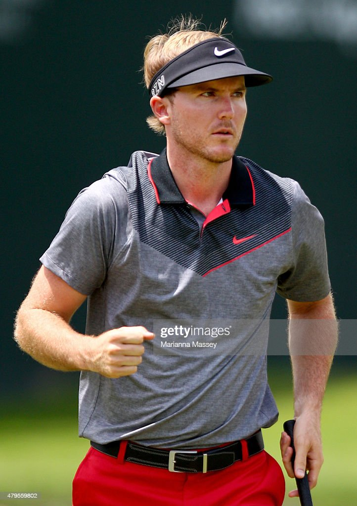 <a gi-track='captionPersonalityLinkClicked' href=/galleries/search?phrase=Russell+Henley&family=editorial&specificpeople=6919717 ng-click='$event.stopPropagation()'>Russell Henley</a> reacts after making a birdie putt on the 18th hole during the final round of the Greenbrier Classic held at The Old White TPC on July 5, 2015 in White Sulphur Springs, West Virginia.