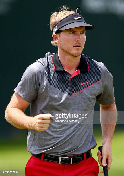 Russell Henley reacts after making a birdie putt on the 18th hole during the final round of the Greenbrier Classic held at The Old White TPC on July...