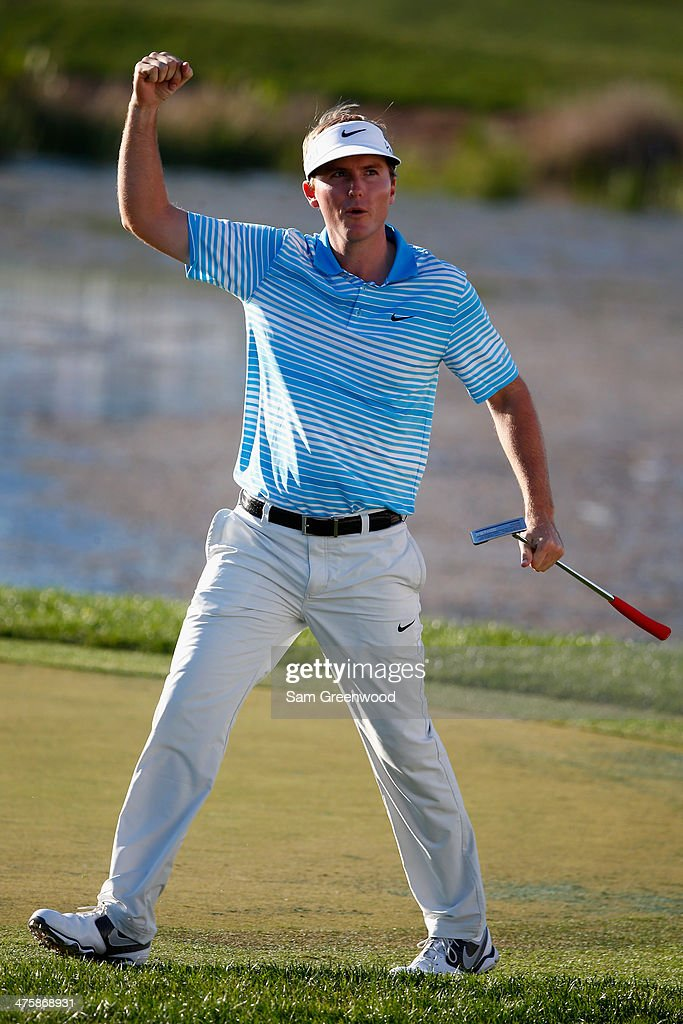 <a gi-track='captionPersonalityLinkClicked' href=/galleries/search?phrase=Russell+Henley&family=editorial&specificpeople=6919717 ng-click='$event.stopPropagation()'>Russell Henley</a> reacts after making birdie on the 17th hole during the third round of The Honda Classic at PGA National Resort and Spa on March 1, 2014 in Palm Beach Gardens, Florida.