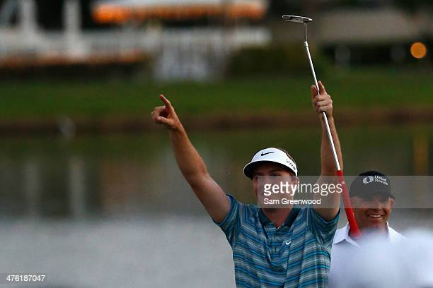 Russell Henley reacts after winning a fourway playoff hole to defeat Rory McIlroy of Northern Ireland Russell Knox and Ryan Palmer to win The Honda...
