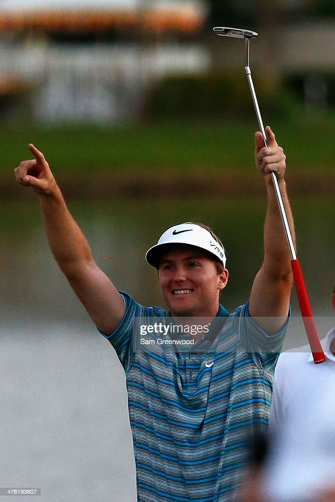 <a gi-track='captionPersonalityLinkClicked' href=/galleries/search?phrase=Russell+Henley&family=editorial&specificpeople=6919717 ng-click='$event.stopPropagation()'>Russell Henley</a> reacts after winning a four-way playoff hole to defeat <a gi-track='captionPersonalityLinkClicked' href=/galleries/search?phrase=Rory+McIlroy&family=editorial&specificpeople=783109 ng-click='$event.stopPropagation()'>Rory McIlroy</a> of Northern Ireland, Russell Knox, and Ryan Palmer (all not pictured) to win The Honda Classic at PGA National Resort and Spa on March 2, 2014 in Palm Beach Gardens, Florida.