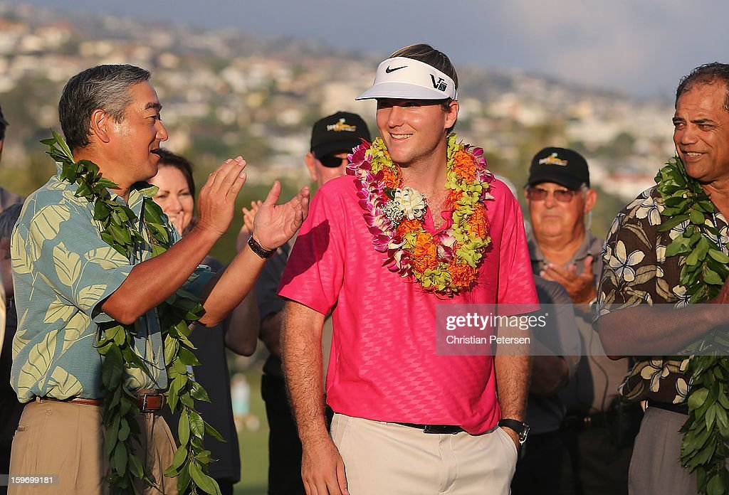 Russell Henley reacts after winning the Sony Open in Hawaii following the final round at Waialae Country Club on January 13, 2013 in Honolulu, Hawaii.
