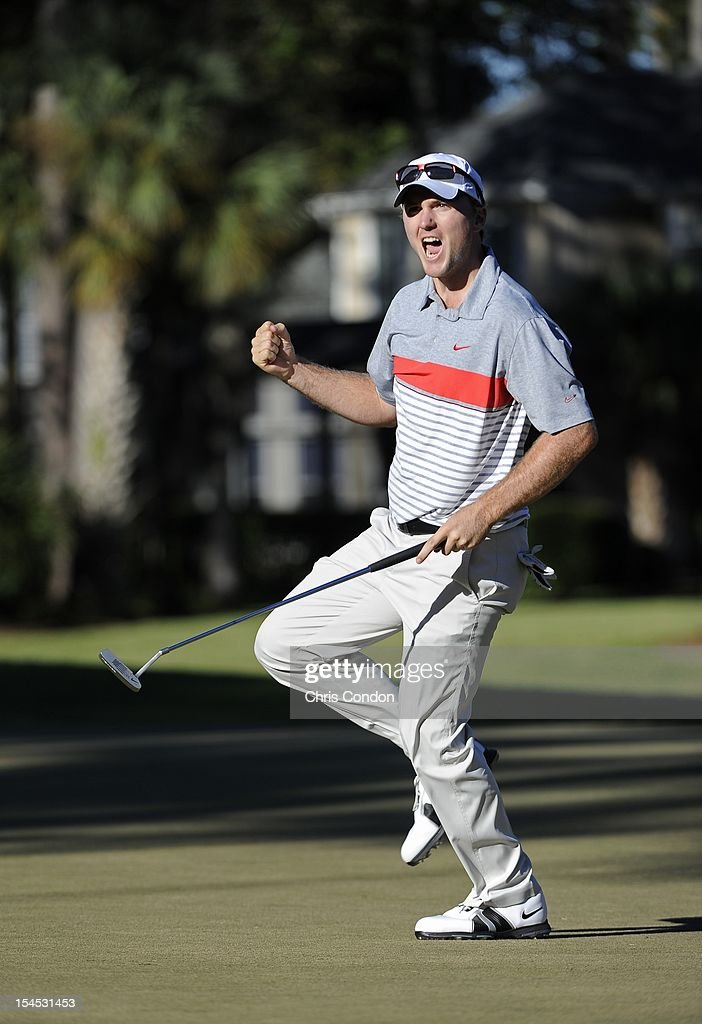 <a gi-track='captionPersonalityLinkClicked' href=/galleries/search?phrase=Russell+Henley&family=editorial&specificpeople=6919717 ng-click='$event.stopPropagation()'>Russell Henley</a> sinks a birdie putt to force a playoff during the final round of the the Winn-Dixie Jacksonville Open presented by Planters at TPC Sawgrass Dye's Valley Course on October 21, 2012 in Ponte Vedra Beach, Florida.