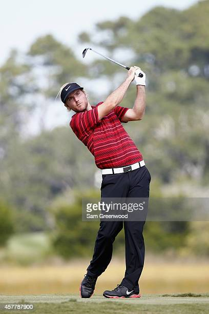 Russell Henley tees off on the 8th hole during the second round of The McGladrey Classic at Sea Island's Seaside Course on October 24 2014 in Sea...