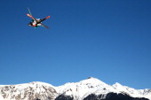 Russell Henshaw of Australia competes in the Freestyle Skiing Men's Ski Slopestyle Finals during day six of the Sochi 2014 Winter Olympics at Rosa...