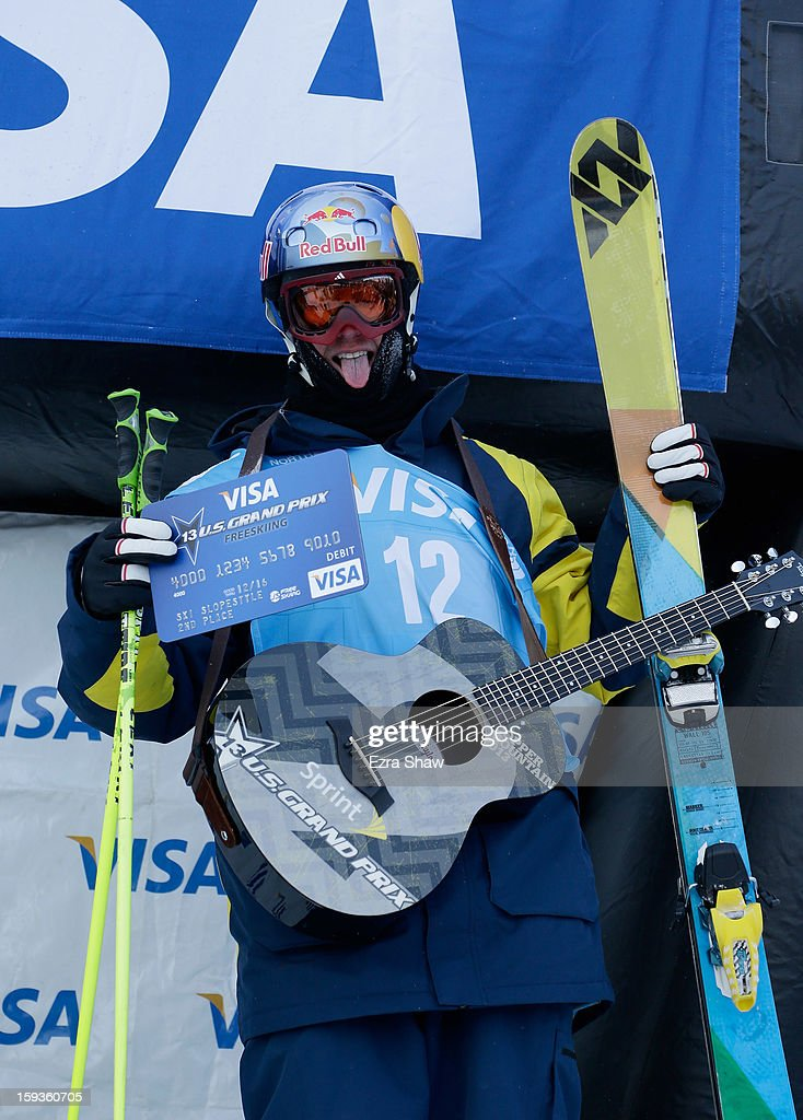 Russell Henshaw of Australia stands on the podium after coming in second place in the FIS Freestyle Ski World Cup slope style final at the U.S. Grand Prix on January 12, 2013 in Copper Mountain, Colorado.