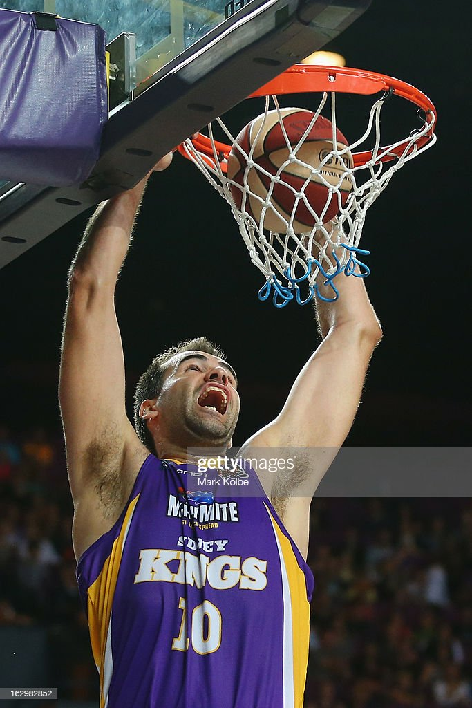 Russell Hinder of the Kings dunks during the round 21 NBL match between the Sydney Kings and the Townsville Crocodiles at Sydney Entertainment Centre on March 3, 2013 in Sydney, Australia.