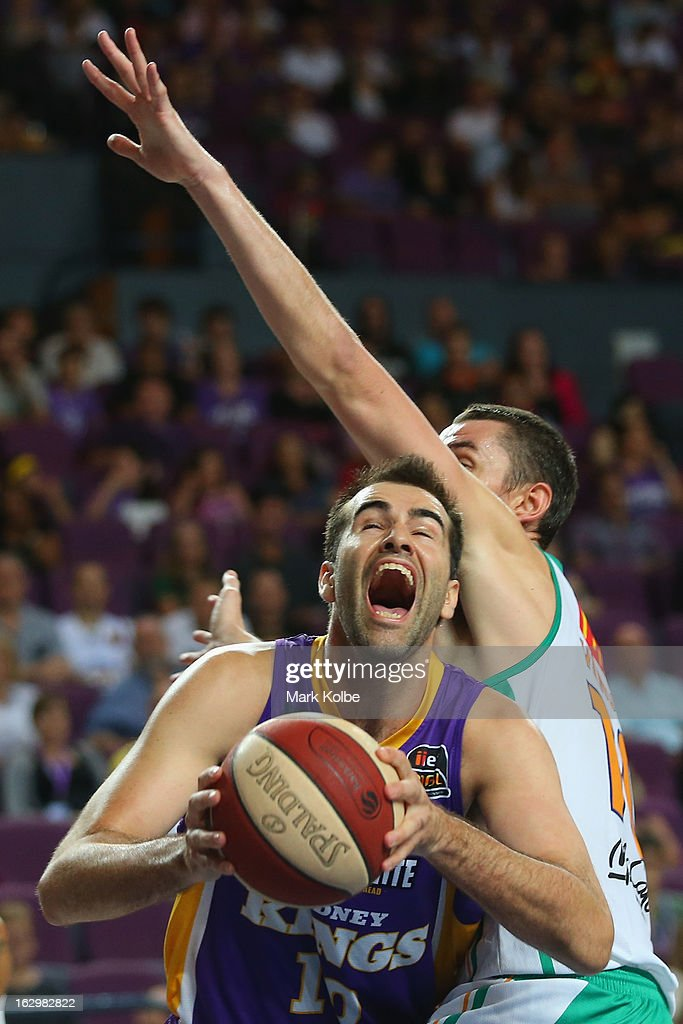 Russell Hinder of the Kings shoots during the round 21 NBL match between the Sydney Kings and the Townsville Crocodiles at Sydney Entertainment Centre on March 3, 2013 in Sydney, Australia.