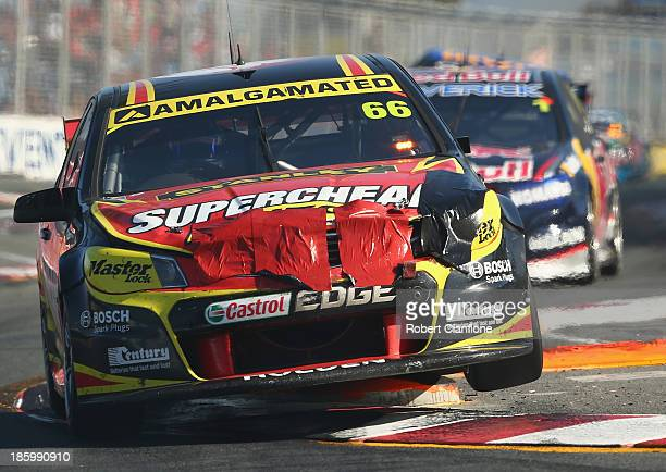 Russell Ingall drives the Supercheap Auto Racing Holden during race 31 of the Gold Coast 600 which is round 12 of the V8 Supercars Championship...