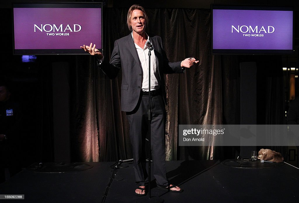 <a gi-track='captionPersonalityLinkClicked' href=/galleries/search?phrase=Russell+James&family=editorial&specificpeople=4344455 ng-click='$event.stopPropagation()'>Russell James</a> addresses guests at the book launch of 'Nomad Two Worlds' by <a gi-track='captionPersonalityLinkClicked' href=/galleries/search?phrase=Russell+James&family=editorial&specificpeople=4344455 ng-click='$event.stopPropagation()'>Russell James</a> on November 1, 2012 in Sydney, Australia.