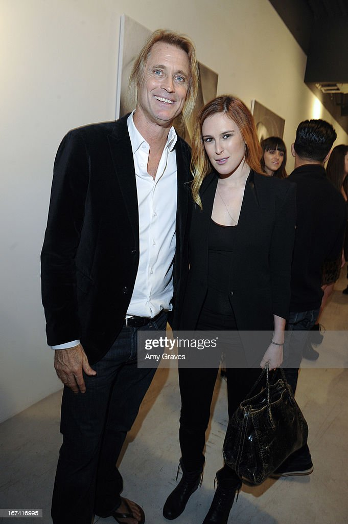 Russell James and Rumer Willis attend Nomad Two Worlds and Russell James Private Reception at Guy Hepner Gallery on April 24, 2013 in Hollywood, California.