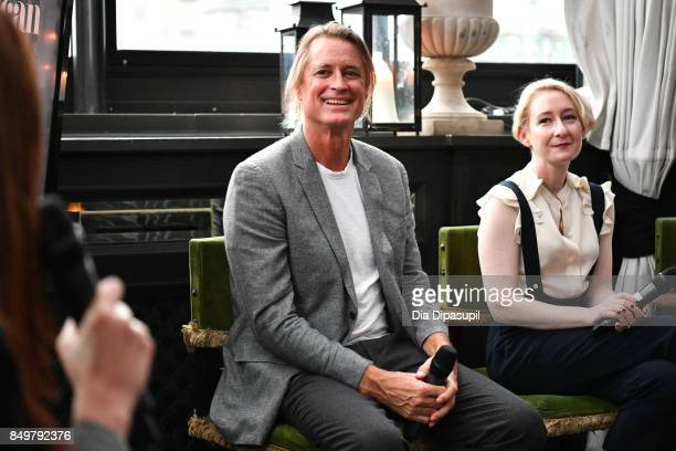 Russell James and Sarah Brown attend the 'American Beauty Star' premiere at Gramercy Terrace at The Gramercy Park Hotel on September 19 2017 in New...