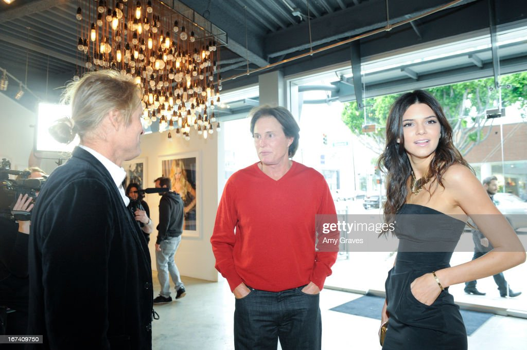 Russell James, Bruce Jenner and Kendall Jenner attend the Nomad Two Worlds and Russell James Private Reception at Guy Hepner Gallery on April 24, 2013 in Hollywood, California.