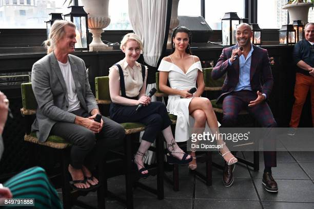 Russell James Sarah Brown Adriana Lima and Sir John attend the 'American Beauty Star' premiere at Gramercy Terrace at The Gramercy Park Hotel on...