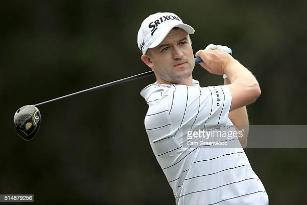Russell Knox hits off the ninth tee during the second round of the Valspar Championship at Innisbrook Resort Copperhead Course on March 11 2016 in...