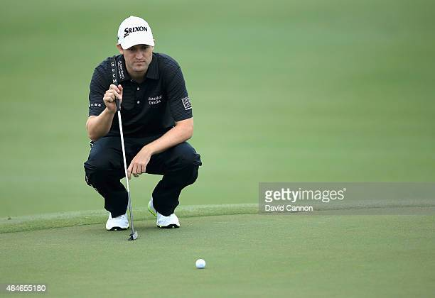 Russell Knox lines up his putt on the ninth green during the second round of The Honda Classic at PGA National Resort Spa Champion Course on February...