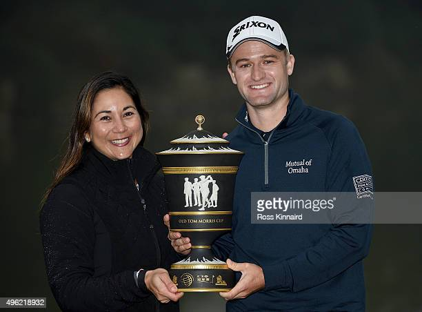 Russell Knox of Scotland and his wife Andrea Knox with the winners trophy after the final round of the WGC HSBC Champions at the Sheshan...