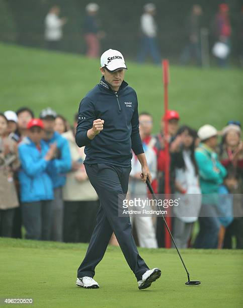 Russell Knox of Scotland celebrates his birdie on the 16th hole during the final round of the WGC HSBC Champions at the Sheshan International Golf...