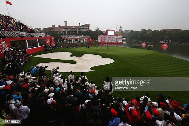 Russell Knox of Scotland celebrates winning the the WGC HSBC Champions at Sheshan International Golf Club on November 8 2015 in Shanghai China